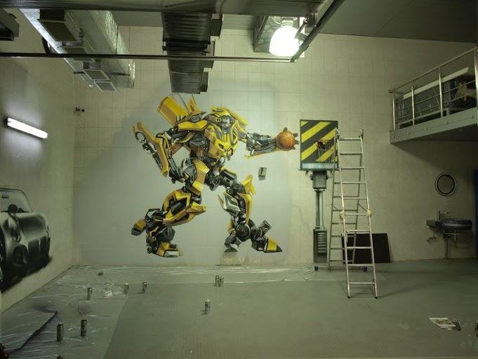 художественное оформление, оформление гаража, художественное оформление гаража, роспись стен, граффити, трансформеры, бамблби