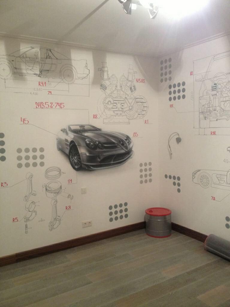 оформление стен, художественное оформление, граффити, роспись стен, детская комната, комната подростка, москва, дизайн интерьера, дизайн, интерьер, лофт, оформление комнаты подростка